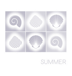 Summer card with seashells halftone design vector