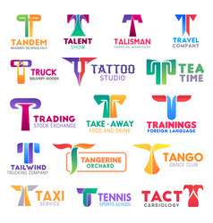 T letter corporate identity business icons vector