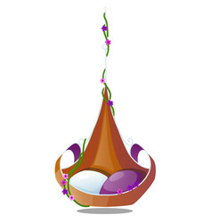 The original hanging chair with cushions decorated vector
