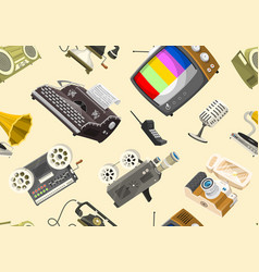 vintage devices seamless pattern retro tech media vector image