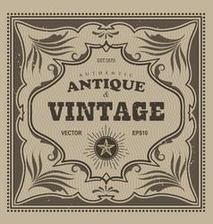 vintage frame western label retro border antique vector image