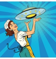 Waitress with ufo vector