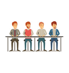 White background with teamwork of men sitting in vector