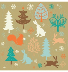Winter christmas forest vector