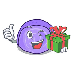with gift blueberry roll cake mascot cartoon vector image