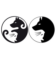 Yin yang symbol cat and dog vector