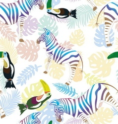 zebra and toucan on background tropical vector image