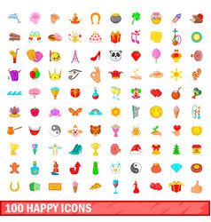 100 happy icons set cartoon style vector image vector image