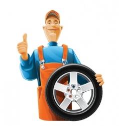 auto mechanic with wheel vector image
