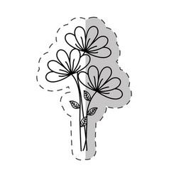 Bouquet flower ornament cut line vector