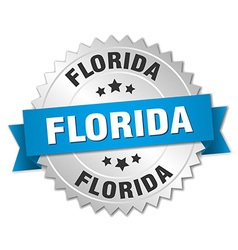 Florida round silver badge with blue ribbon vector image
