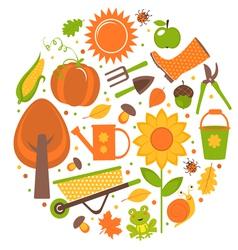 Garden round composition vector image