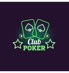 Green Poker Club Neon Sign vector image