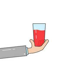 linear hand holding glass vector image vector image