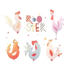 Set roosters for the new year 2017 vector image