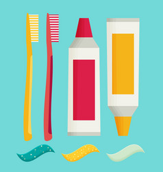 toothbrush and toothpaste isolated on a flat vector image vector image
