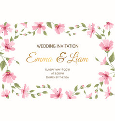 wedding invitation gypsophila flowers border frame vector image vector image