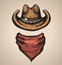 Cowboy hat and bandana scraf vector image vector image