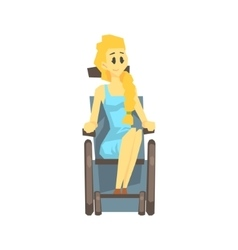 Cute Girl In Wheelchair Young Person With vector image vector image