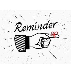Human hand with reminder red tape on the finger vector image