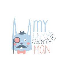 my little gentleman label colorful hand drawn vector image vector image