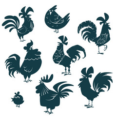 roosters and chickens cartoon set vector image