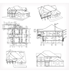 Set houses and blueprint vector image vector image
