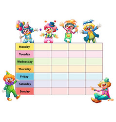 timetable template with days of the week and vector image vector image