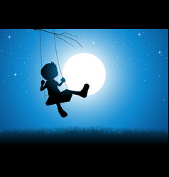 cartoon silhouette of a boy playing on a swing vector image vector image