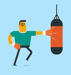 caucasian white boxer hitting a boxing bag vector image