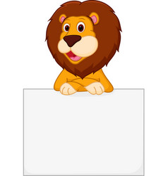 cute lion cartoon holding sign vector image