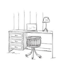 Hand drawn workplace Furniture sketch vector image