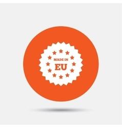 Made in EU icon Export production symbol vector image vector image
