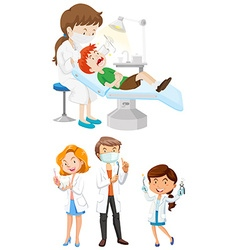 Male and female dentists with tools vector image vector image