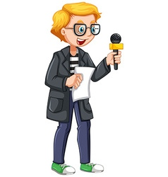 News reporter holding script and microphone vector