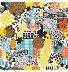 Owls on the field seamless pattern vector image