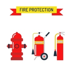 Red fire hydrant emergency department flat vector image