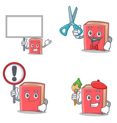 Set of red book character with bring board sign vector
