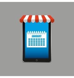 Calendar e-commerce concept hand holding vector