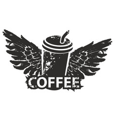 disposable coffee cup with wings and straw vector image vector image