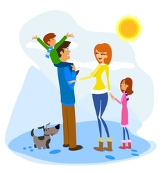 Family Enjoying a Winter Day vector image vector image
