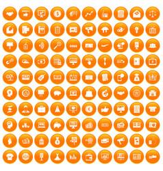 100 e-commerce icons set orange vector