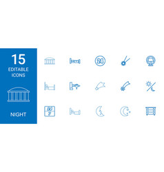 15 night icons vector image
