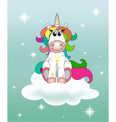 A rainbow unicorn sits on a cloud with a turquoise vector