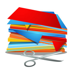 A stack of colored paper and office scissors vector