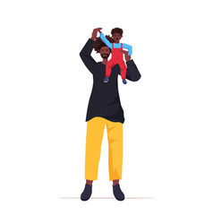 African american father playing with little son vector