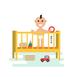Baby in crib with toys vector