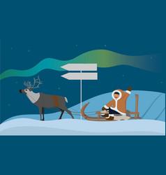 Banner with an eskimo on a reindeer sleigh vector