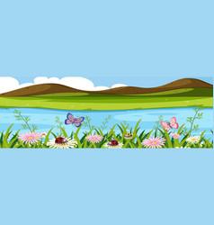 beautiful water nature landscape vector image