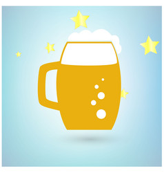 beer icon with stars on blue background vector image